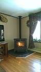 Pellet stove in a living room