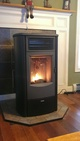 Pellet stove with a fire going
