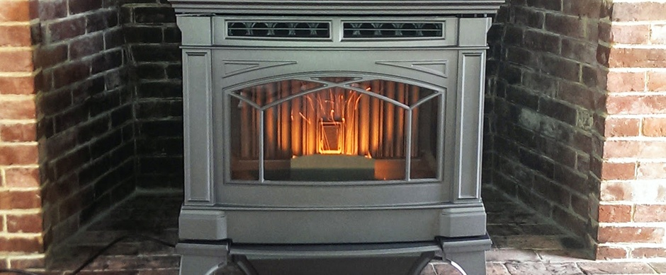 Electric stove in a fireplace